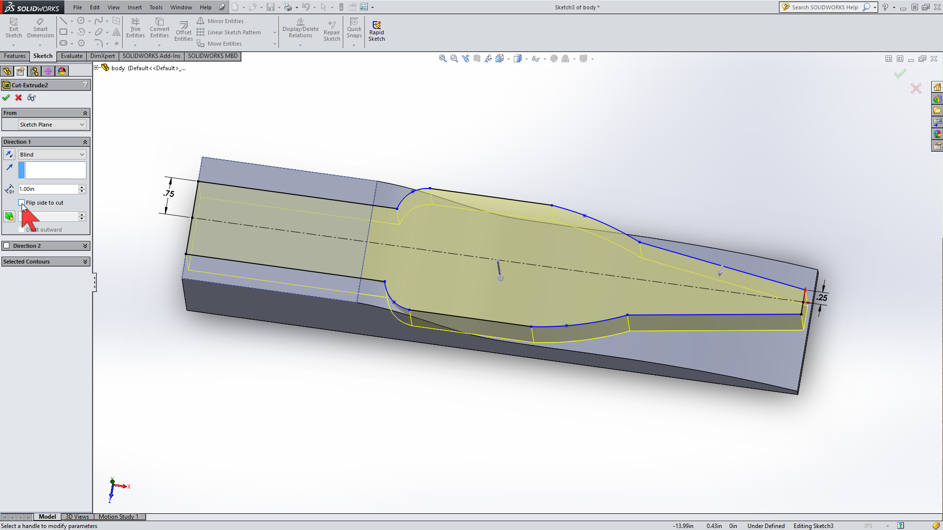 Picture of Extrude Cut Dialogs