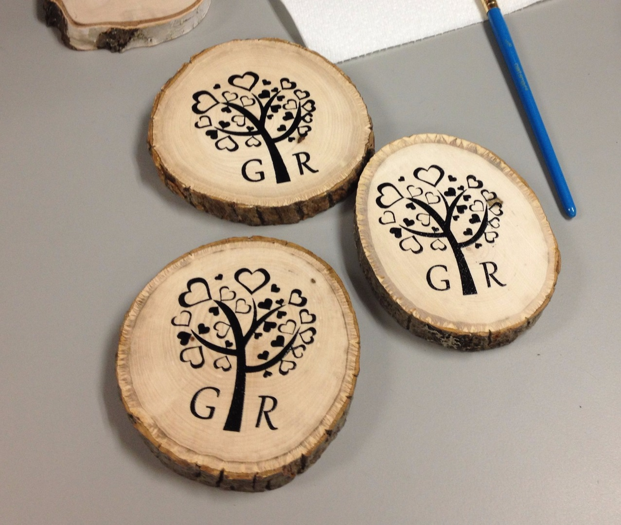 Picture of DIY Screen Printing on Wood Coasters for Wedding Gift