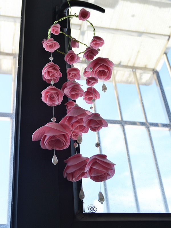 Picture of How to Make Pink Felt Rose Wind Chime With Pearl Dangles for House Decoration