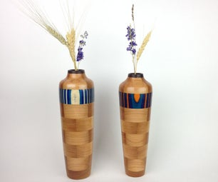 Colorful Segmented Wooden Vase