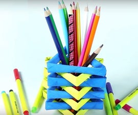 How to Make Pen Stand/Pencil Holder With Rolled Newspaper