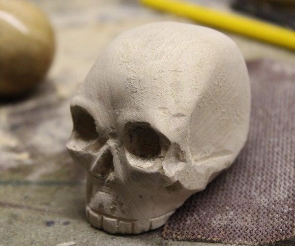 Wooden Carved Skull
