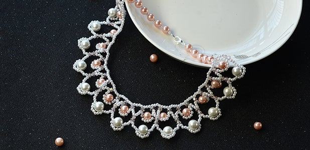 Beebeecraft Instructions on How to Make Sea Wave Bib Necklace With Glass Pearl Beads