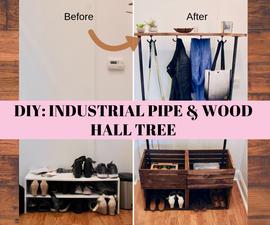Wood & Industrial Pipe Hall Tree DIY