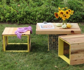 Pallet Wood Bench and Gabion Table