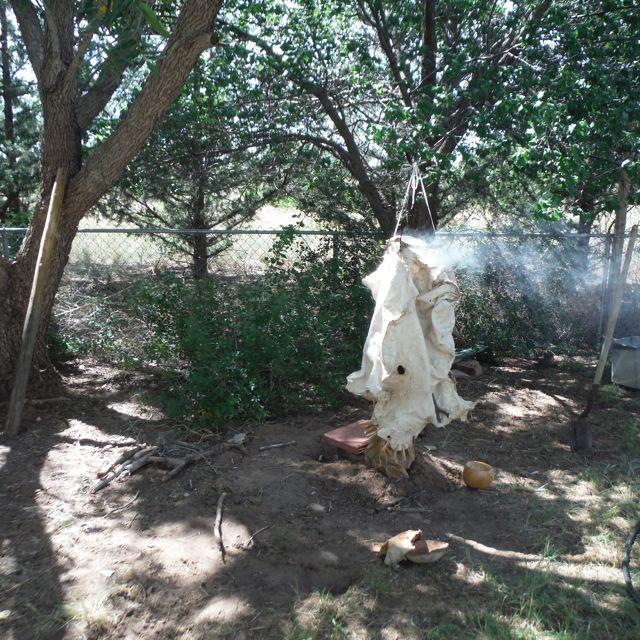 Picture of Smoking a Deer Hide