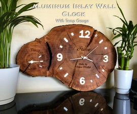 Aluminum Inlay Cross-Cut Log Clock
