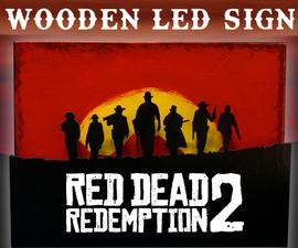 Red Dead Redemption 2 Wooden LED Sign