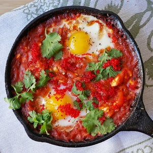 Top Your Shakshuka With Cilantro, Avocado, Uni, Tobiko (get Creative!!) and Serve With Some Hot Sauce and Toast!