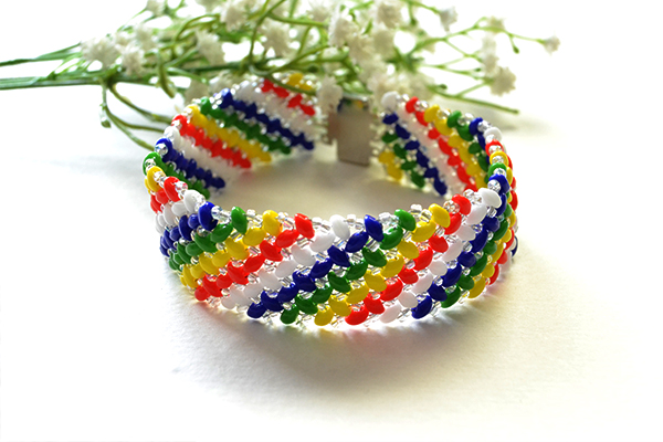 Picture of How to Make a Handmade Rainbow 2-Hole Seed Beaded Wide Bracelet for Summer