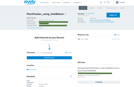 Creating the App on Xively.com