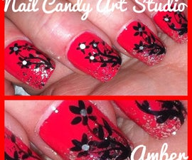 Coral Nail's with Black and Silver Flowers