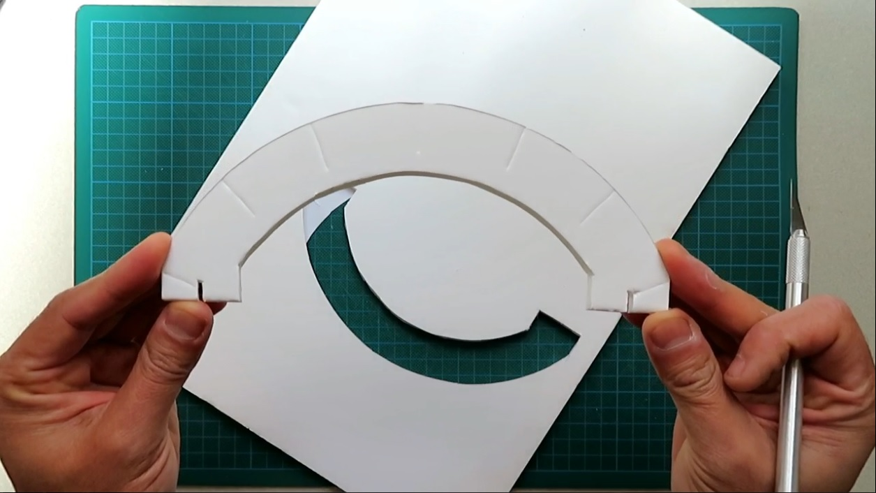 Picture of Use X-Acto Knife to Cut Out Template 1 Units on the White Foam