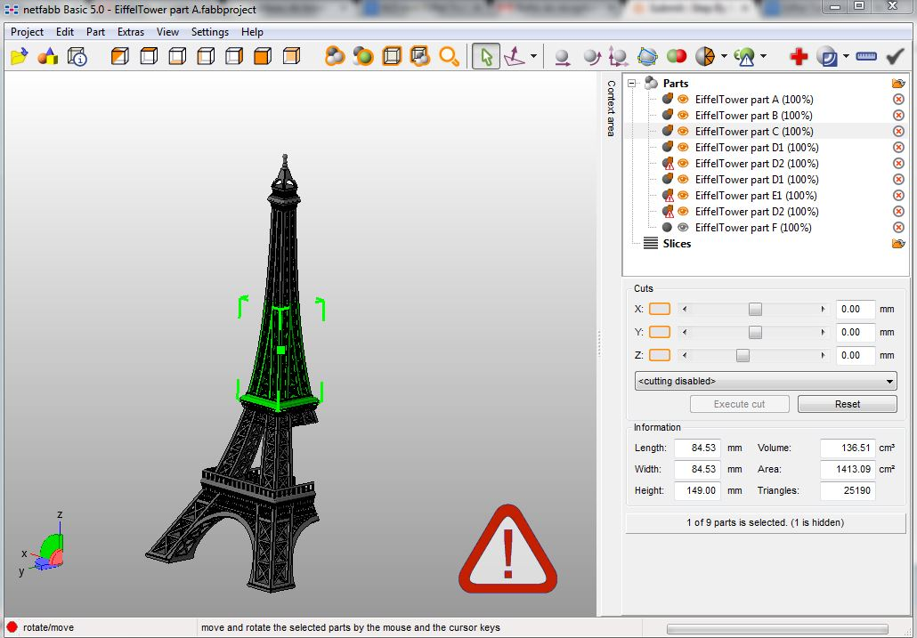 Picture of Cut and Export on Netfabb