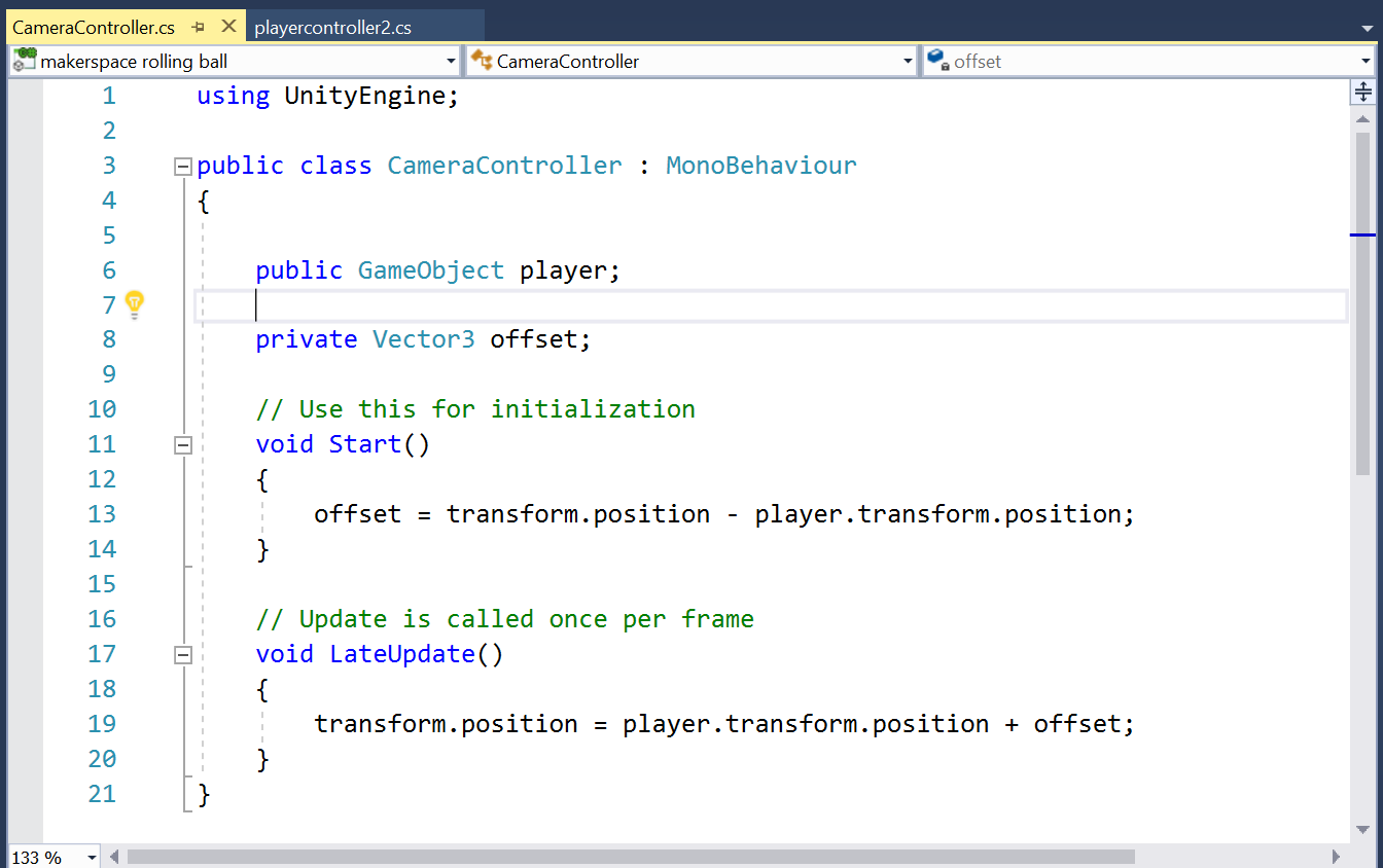 Picture of Writing the #C Script for the Camera to Follow the Player