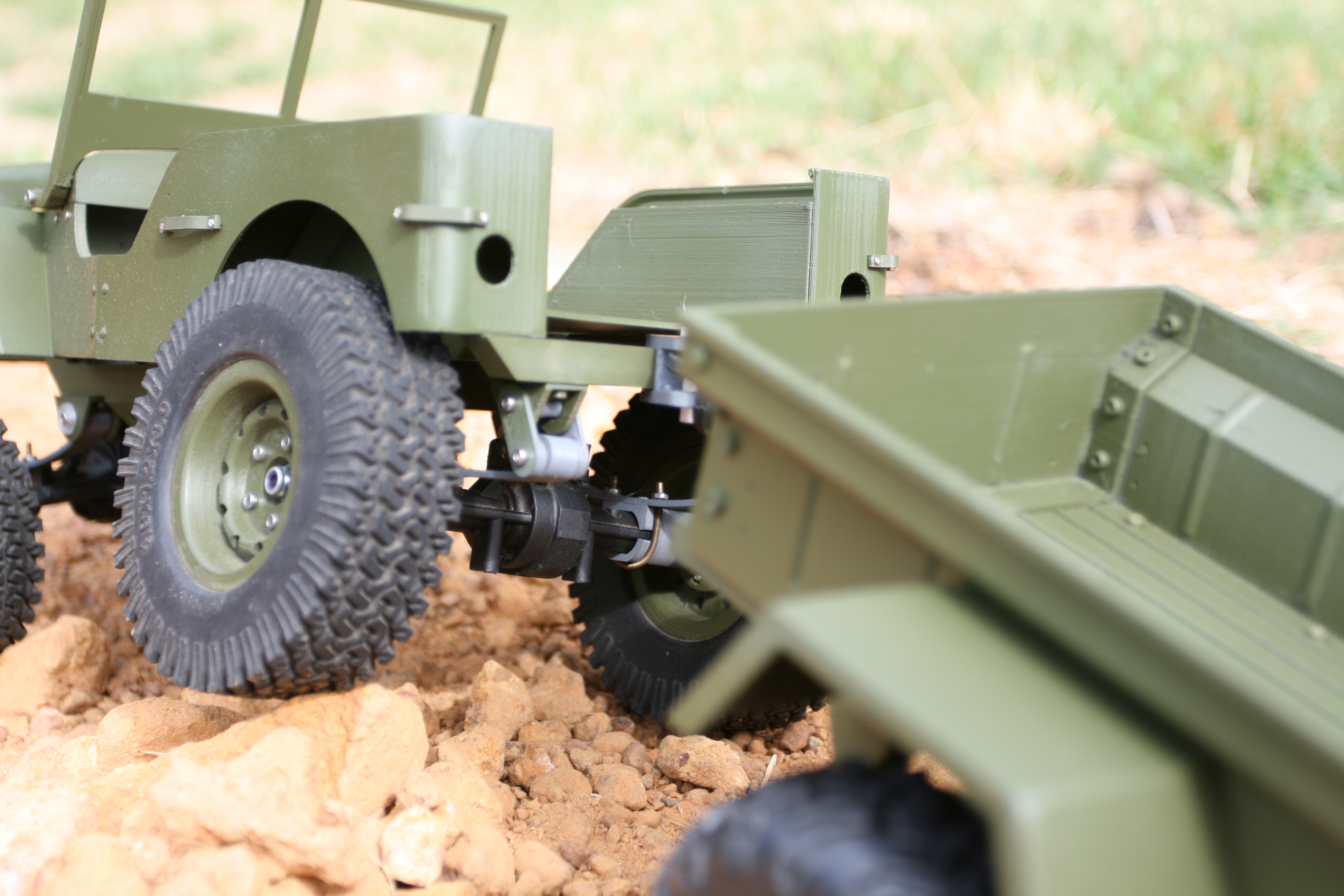 Picture of 3D Printed MB Jeep and M416 Trailer in 1:10 Scale