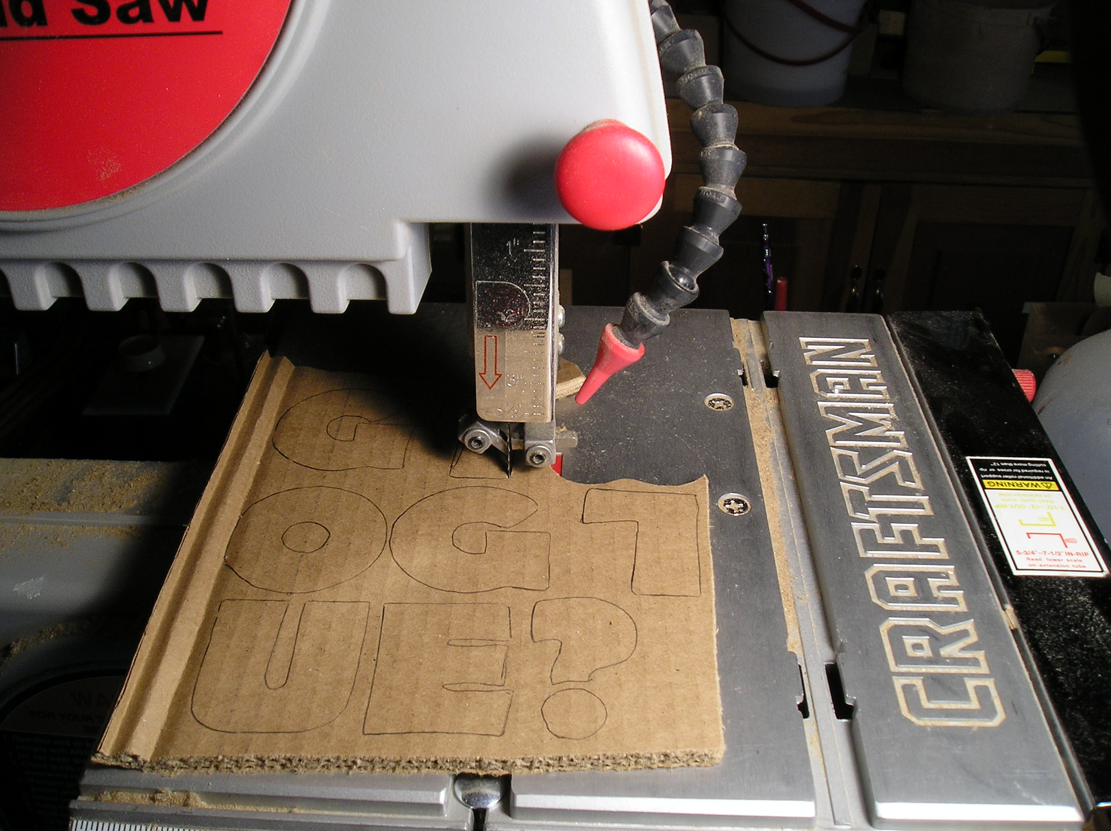 Picture of Cut Letters Out on the Bandsaw.