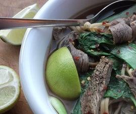 super quick miso, pak choi and beef noodle soup
