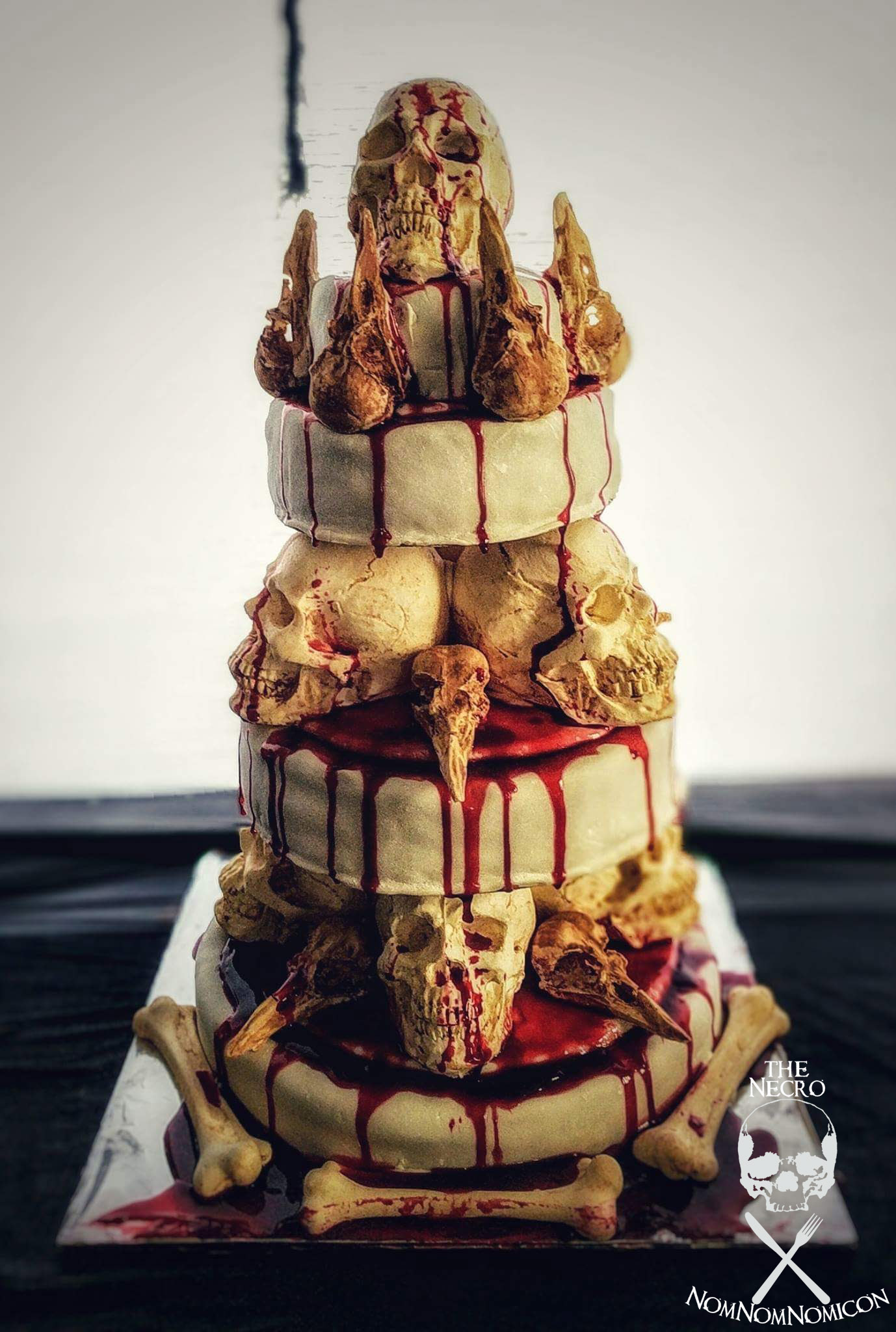 """Picture of """"The Bone Collector"""" Stacked Skull Cake"""