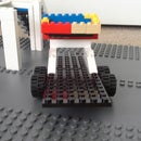 lego race car , race car trailer and truck