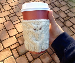 Knit Owl Coffee Cozy