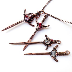 Sword Pendant Wire Wrapped Jewelry
