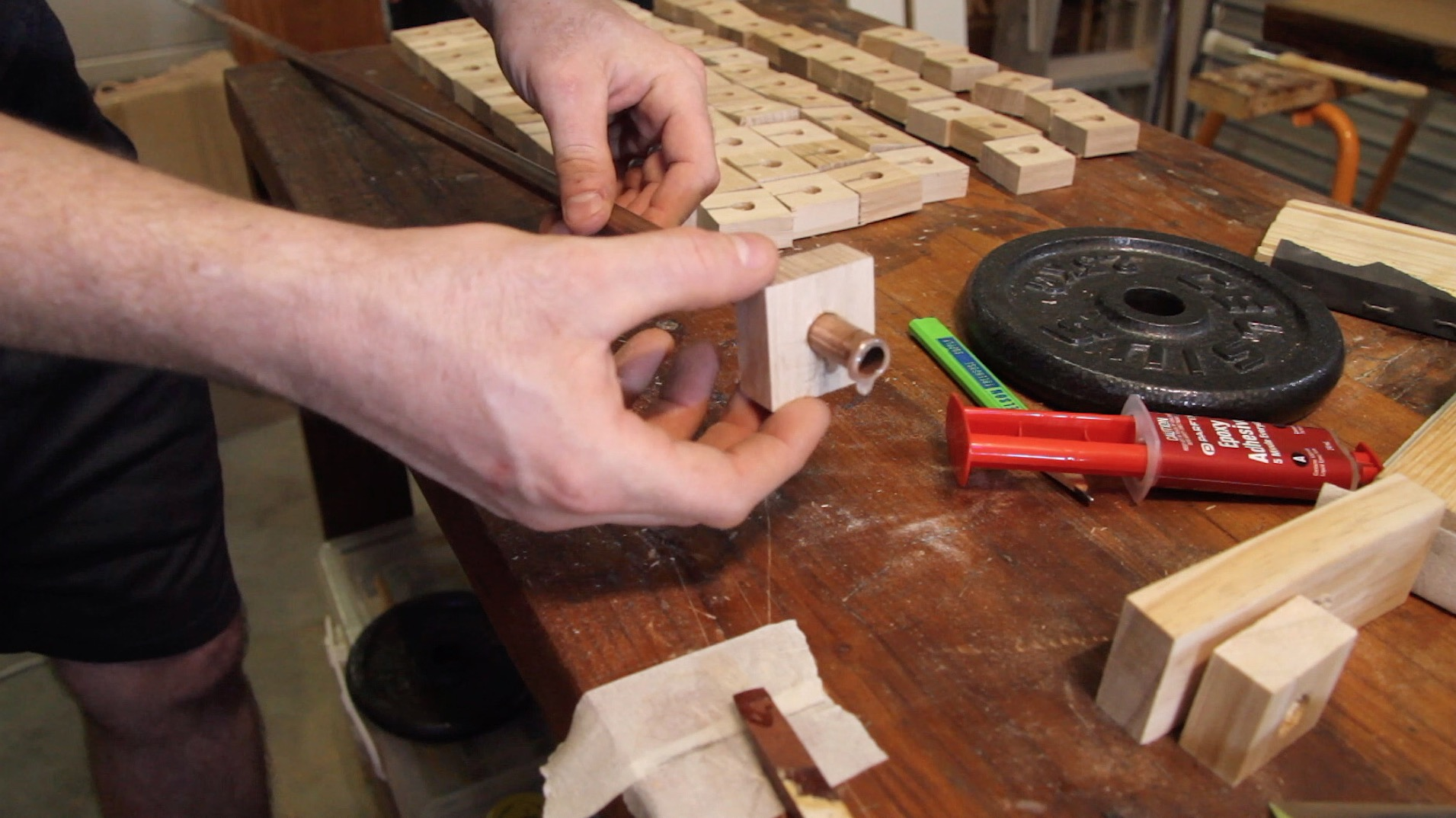Picture of Slide Wood Squares Onto Copper Pipe to Make the Shaft