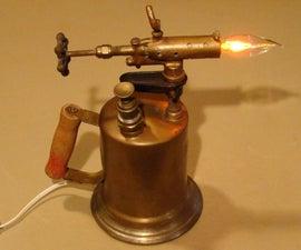 Antique Brass Blow Torch Accent Lamp