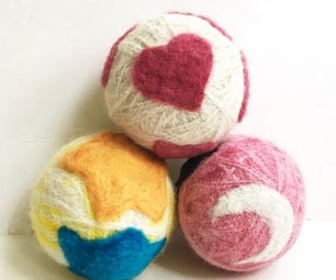 DIY Wool Dryer Balls With Needle Felted Designs