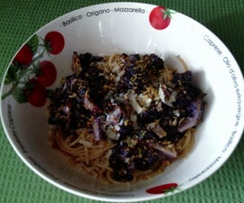 Roasted Purple Cauliflower with Browned Butter, Sage, and Whole Wheat Spaghetti
