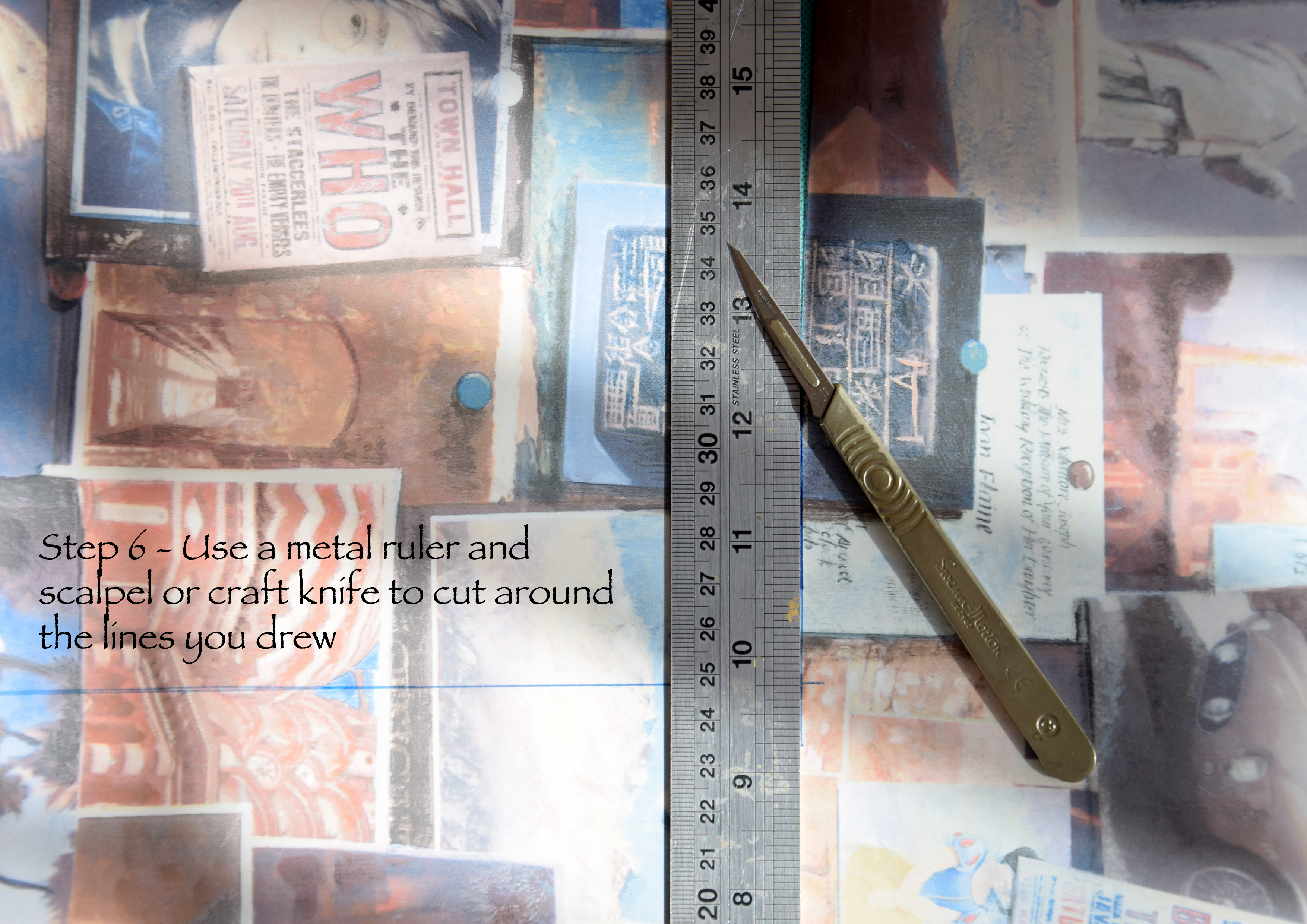 Picture of Cut Using Metal Ruler and Scalpel or Craft Knife