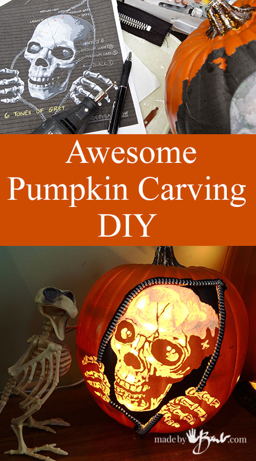 Picture of Escaping Skeleton Carved Faux Pumpkin DIY