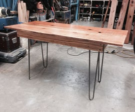 Redwood fence office table with hairpin legs