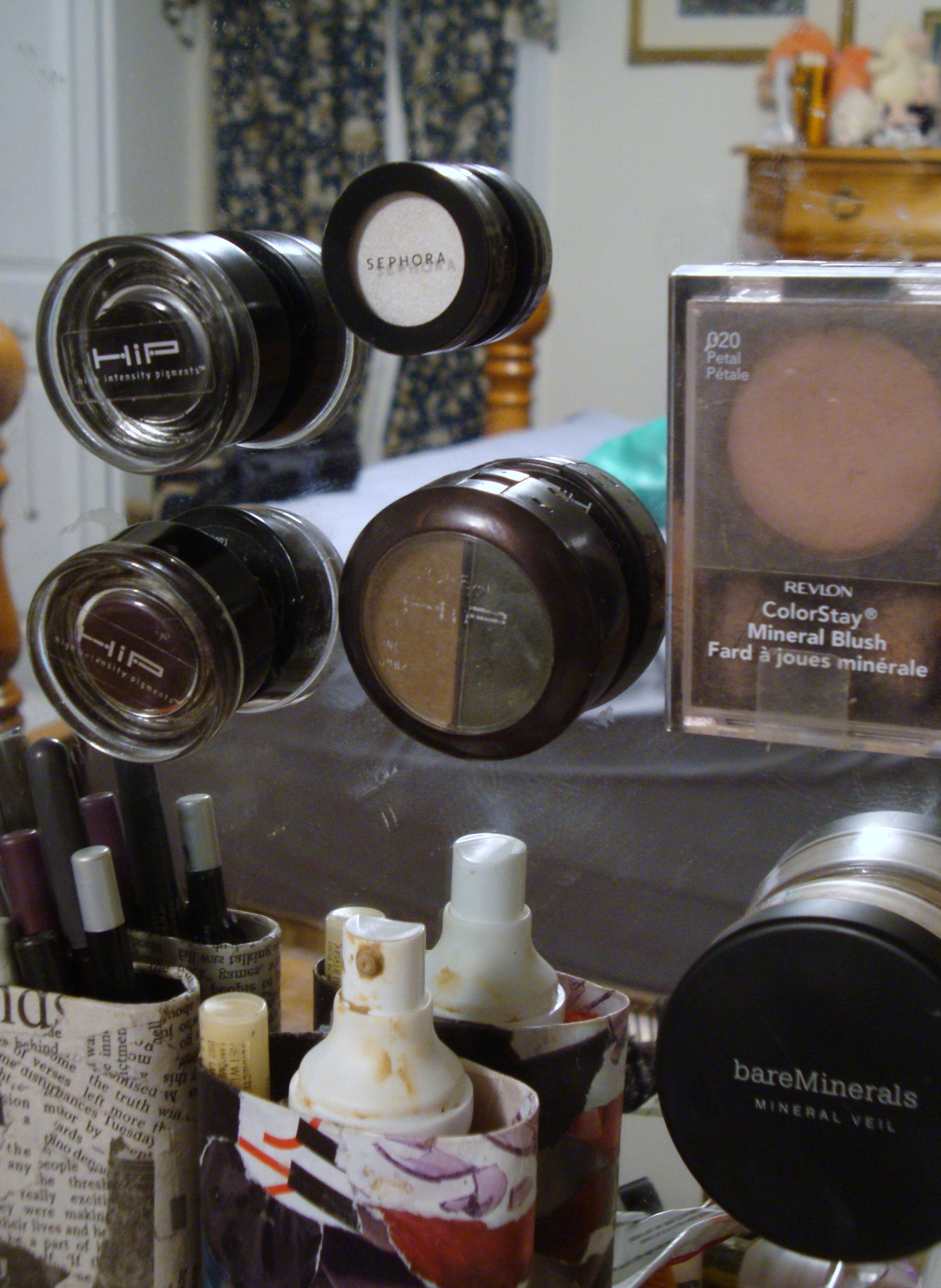Picture of Way to Organize/Store Makeup (or Almost Anything) on Your Mirror