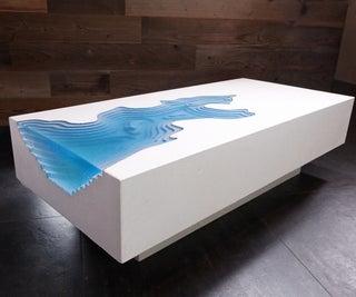 "White Concrete & Epoxy ""Arctic Erosion"" Table"