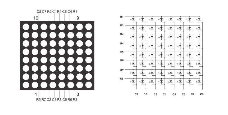 Picture of Connect the 8x8 LED Matrix to the 74HC595 Shift Register