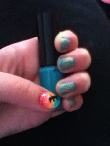 Sunset and Dolphin Manicure