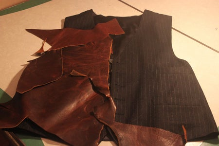 Layout the Leather on an Old Vest or Pattern