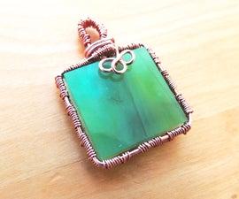 Glass Tile & Woven Copper Pendant