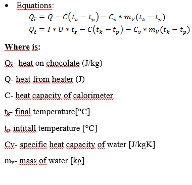 Picture of Determination of the Energy Given to Chocolate in Relation to Temperature: