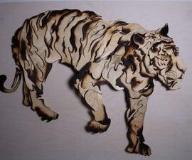 Tiger sculpture from scrap wood