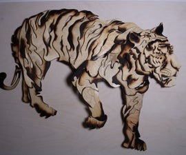 Tiger Sculpture From Scrap Wood