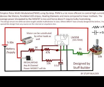 Simplest PWM Motor Control Circuit Using Op Amp