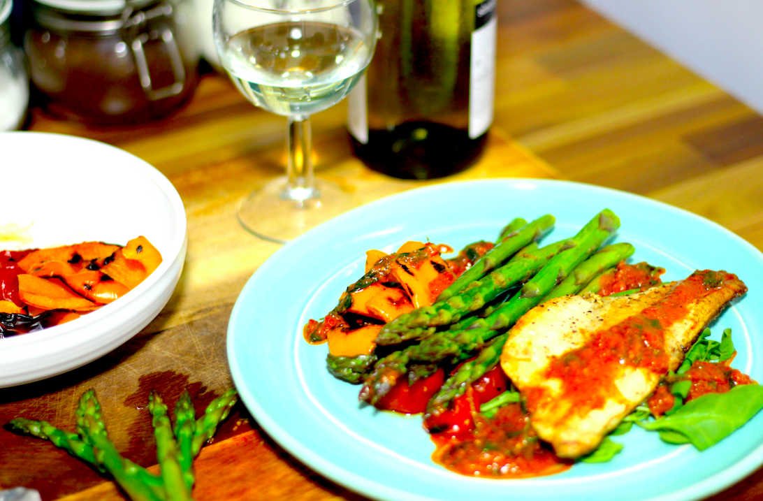 Picture of Pan Fried Sea Bass With Chargrilled Vegetables | Cooking With Benji
