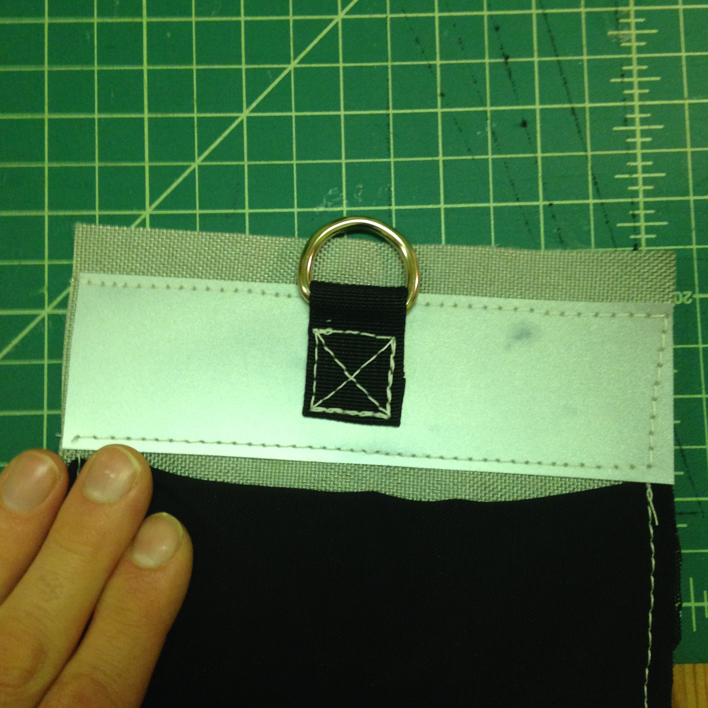 Picture of Sew on Side Pockets (optional), Sew on Reflective Tape (optional), Sew on D-rings (optional), Sew Side Panels to the Bottom Panel (not Optional)