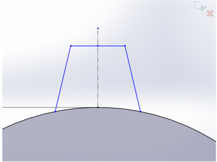 """Picture of Sketch the Shape of a Gear Tooth and Use """"Mirror Entities"""" to Mirror That Image Over to the Other Side"""