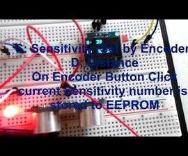 Arduino Ultrasonic Range Finder, OLED, Rotary Encoder and Saving Settings to EEPROM