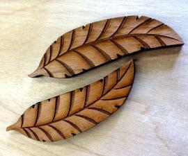 Wooden Laser Cut Leaf Earrings
