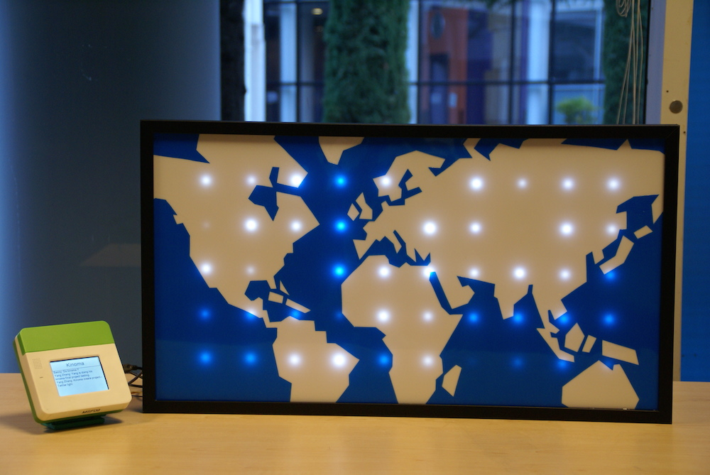 Picture of Sparkle Motion: an LED World Map Driven by Global Twitter Traffic Data