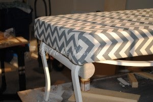 Lay Fabric Atop Foam and Batting to Cover the Table Frame Turned Bench